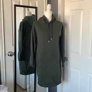 H&M hoodie dress is olive green